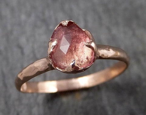 Fancy cut Pink Tourmaline Rose Gold Ring Gemstone Solitaire recycled 14k statement cocktail statement 1485