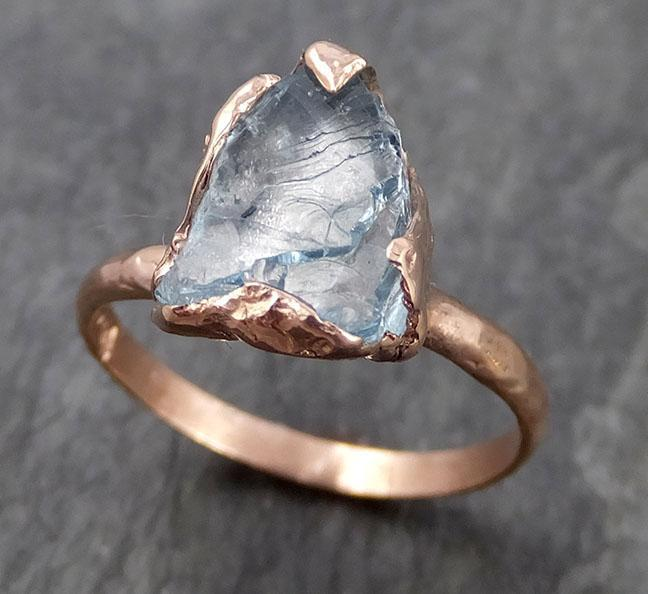 Raw uncut Aquamarine Solitaire Ring Custom One Of a Kind Gemstone Ring Bespoke byAngeline 0946