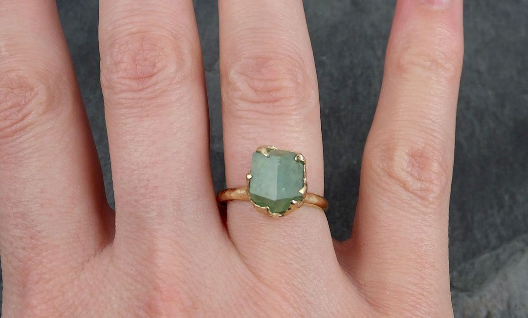 Rough Raw Natural Demantoid Green Garnet Gemstone Solitaire ring Recycled 14k yellow Gold One of a kind Gemstone ring byAngeline 0947