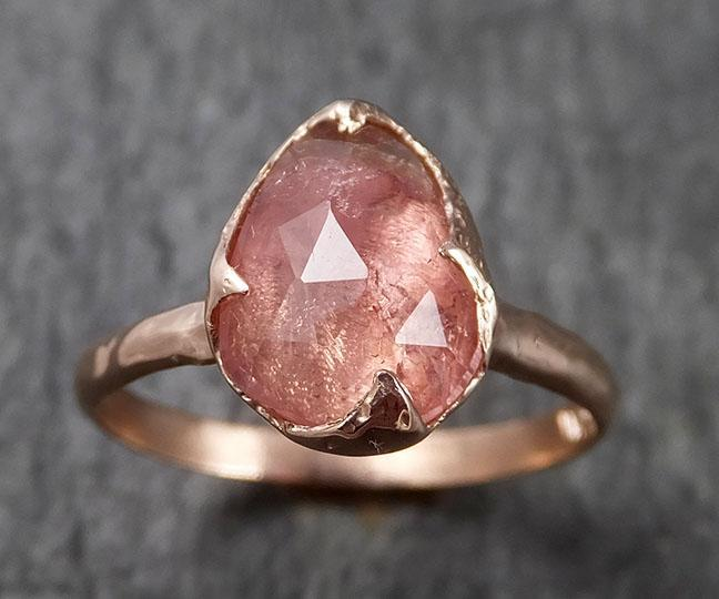 Fancy cut Pink Tourmaline Rose Gold Ring Gemstone Solitaire recycled 14k statement cocktail statement 1486
