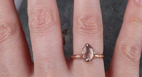 Fancy cut Pink Tourmaline Rose Gold Ring Gemstone Solitaire recycled 14k statement cocktail statement 1487