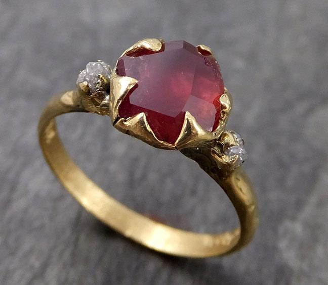 Partially Faceted Ruby/Sapphire Multi stone 18k yellow Gold Engagement Ring Wedding Ring Custom One Of a Kind Gemstone Ring 0948