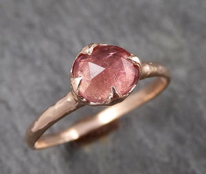 Fancy cut Pink Tourmaline Rose Gold Ring Gemstone Solitaire recycled 14k statement cocktail statement 1489