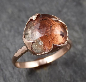 Fancy cut watermelon Tourmaline Rose Gold Ring Gemstone Solitaire recycled 14k statement cocktail statement 1492