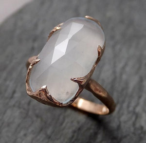 Fancy cut Aquamarine Rose Gold Ring Gemstone Solitaire recycled 14k statement cocktail statement 1493