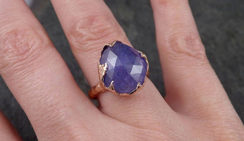 Fancy cut Tanzanite 14k recycled rose Gold Ring Gemstone cocktail statement byAngeline 1495