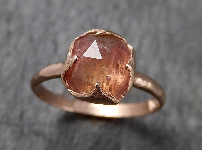 Fancy cut pink Tourmaline Rose Gold Ring Gemstone Solitaire recycled 14k statement cocktail statement 1496