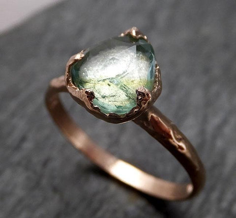 Fancy cut Blue Green Tourmaline Rose Gold Ring Gemstone Solitaire recycled 14k statement cocktail statement 1497