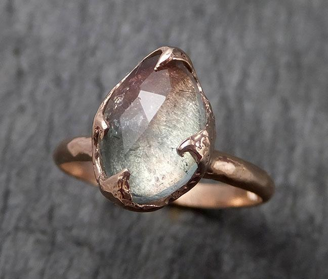 Fancy cut Blue pink Tourmaline Rose Gold Ring Gemstone Solitaire recycled 14k statement cocktail statement 1498