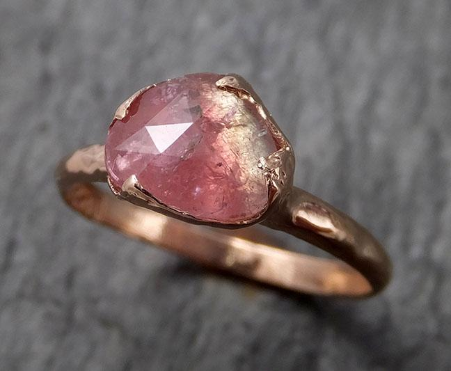 Fancy cut watermelon Tourmaline Rose Gold Ring Gemstone Solitaire recycled 14k statement cocktail statement 1499
