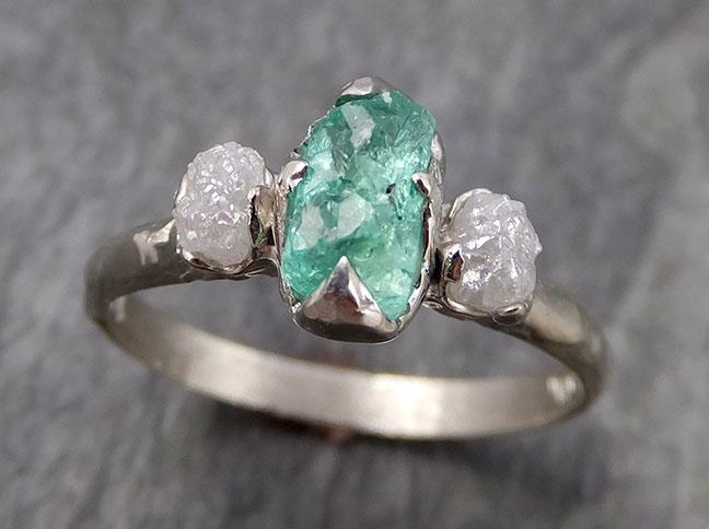 Three raw Stone Diamond Emerald Engagement Ring 14k Multi stone white Gold Wedding Ring Uncut Birthstone Stacking Rough Diamond Ring byAngeline 0951