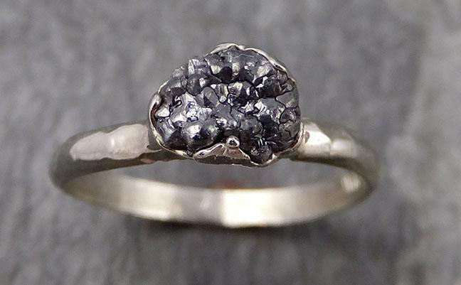 Raw Black Diamond Solitaire Engagement Ring Rough White 14k Gold Wedding diamond Wedding Rough Diamond Ring 0953