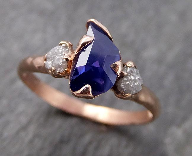 Partially faceted Raw ultraviolet Sapphire Diamond 14k rose Gold Engagement Ring Wedding Ring Custom One Of a Kind Gemstone Ring Multi stone Ring 0954