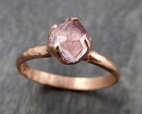Partially Faceted Champagne Pink Topaz 14k Rose gold Solitaire Ring Gold Pink Gemstone Engagement Ring Raw gemstone Jewelry 0955