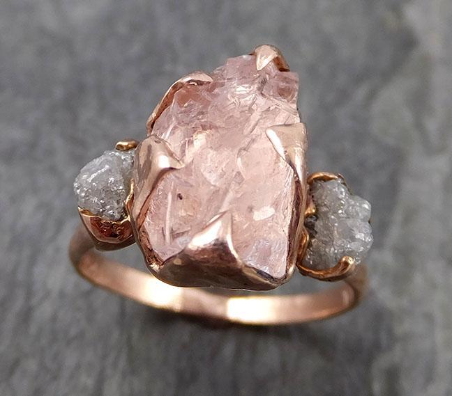 Raw Morganite Diamond Rose Gold Engagement Ring Multi stone Wedding Ring Custom One Of a Kind Gemstone Ring Bespoke 14k Pink Conflict Free by Angeline 0956