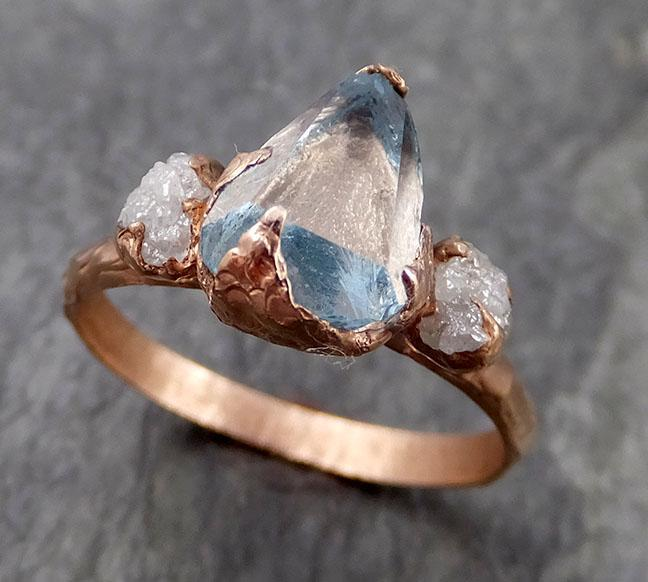 Raw Rough and partially Faceted Aquamarine Diamond 14k Rose Gold Multi stone Ring One Of a Kind Gemstone Ring Recycled gold 0957