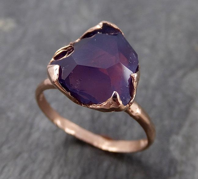 Partially Faceted Sapphire Solitaire 14k rose Gold Engagement Ring Wedding Ring Custom One Of a Kind Gemstone Ring 0958