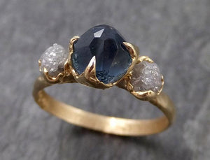 Partially Faceted Montana Sapphire Raw Multi stone Rough Diamond 14k Yellow Gold Engagement Ring Wedding Ring Custom One Of a Kind blue Gemstone Ring 0959