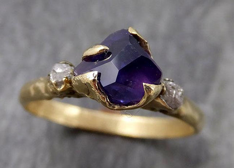 Partially faceted natural sapphire gemstone Raw Rough Diamond 18k Yellow Gold Engagement ring multi stone 0960