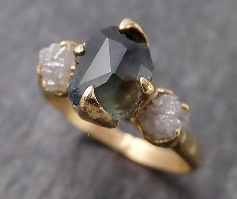 Partially faceted Montana Sapphire natural green sapphire gemstone Raw Rough Diamond 14k Yellow Gold Engagement ring multi stone 0961