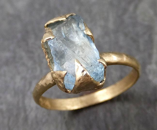 Uncut Aquamarine Solitaire 14k yellow gold Ring Custom One Of a Kind Gemstone Ring Bespoke byAngeline 0963