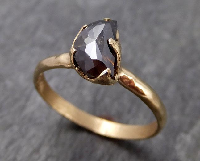 Fancy cut Cognac half moon Diamond Solitaire Engagement 14k Yellow Gold Wedding Ring Diamond Ring byAngeline 0964