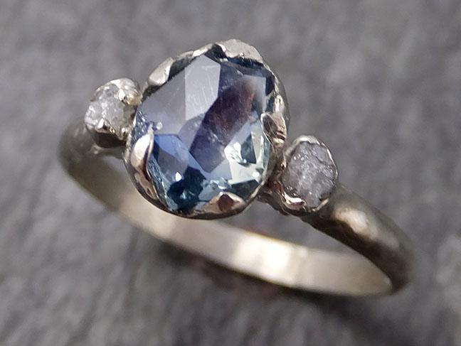 Montana Sapphire Partially Faceted Multi stone Rough Diamond 14k White Gold Engagement Ring Wedding Ring Custom Gemstone Ring Three stone 0952