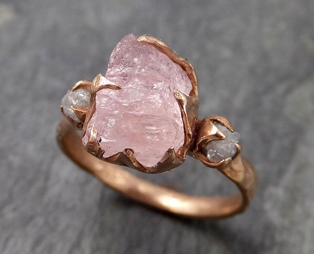 Raw Morganite Diamond Rose Gold Engagement Ring Multi stone Wedding Ring Custom One Of a Kind Gemstone Ring Bespoke 14k Pink Conflict Free by Angeline 0967