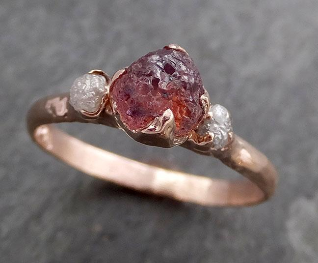 Raw Sapphire Diamond Rose Gold Engagement Ring Wedding Ring Custom One Of a Kind Pink Gemstone Multi stone Ring 0969