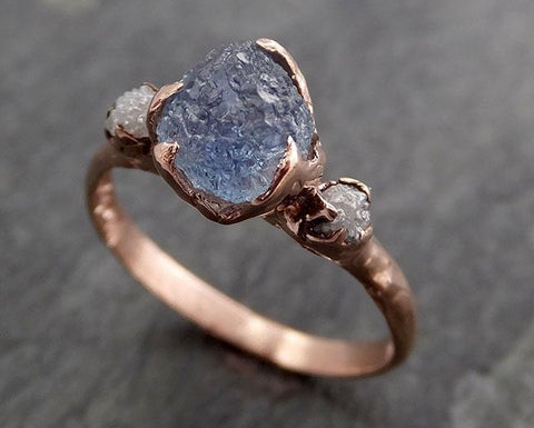 Raw Sapphire Diamond Rose Gold Engagement Ring Wedding Ring Custom One Of a Kind Gemstone Multi stone Ring 0970