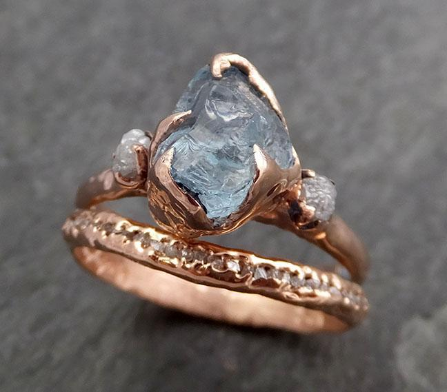 Aquamarine Diamond Raw Uncut rose 14k Gold Engagement Ring Multi stone Wedding Ring Custom One Of a Kind Gemstone Bespoke byAngeline 0973