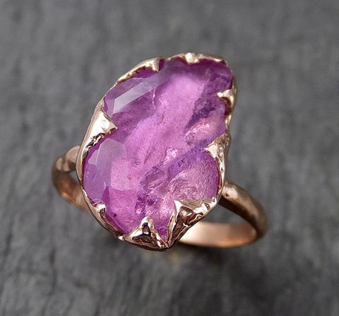 Partially Faceted Sapphire 14k rose Gold statement Cocktail Ring Custom One Of a Kind Gemstone Ring Solitaire 1501