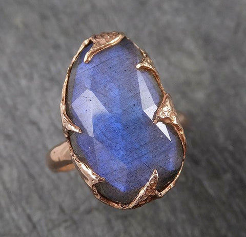 Fancy cut Labradorite Rose Gold Ring Gemstone Solitaire recycled 14k statement cocktail statement 1502