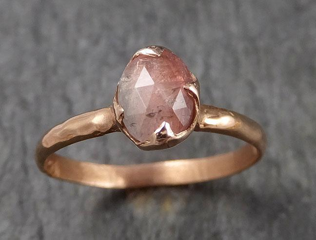 Fancy cut watermelon Tourmaline Rose Gold Ring Gemstone Solitaire recycled 14k statement cocktail statement 1505