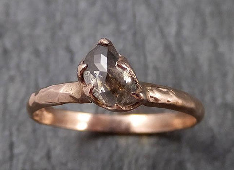 Fancy cut champagne  moon Diamond Solitaire Engagement 14k Yellow Gold Wedding Ring Diamond Ring byAngeline 1510