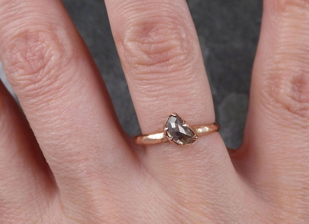 Fancy cut Champagne Diamond Solitaire Engagement 14k Yellow Gold ...