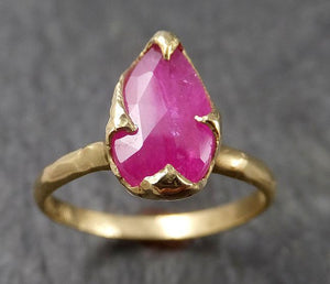 Fancy cut Ruby Yellow Gold Ring Gemstone Solitaire recycled 18k statement cocktail statement 1511