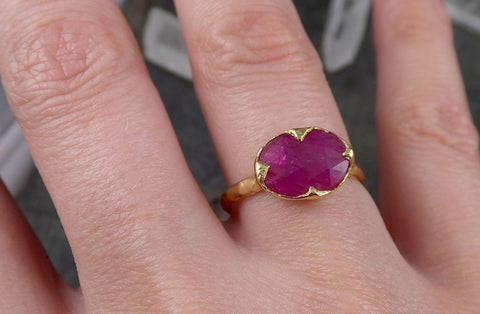 Fancy cut Ruby Yellow Gold Ring Gemstone Solitaire recycled 18k statement cocktail statement 1512