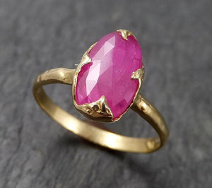 Fancy cut Ruby Yellow Gold Ring Gemstone Solitaire recycled 18k statement cocktail statement 1513