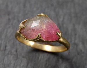 Fancy cut Watermelon Tourmaline Yellow Gold Ring Gemstone Solitaire recycled 18k statement cocktail statement 1514