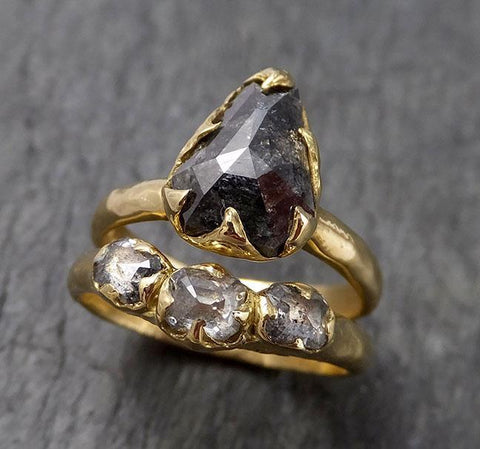 Fancy cut salt and pepper Diamond Solitaire Engagement 18k yellow Gold Wedding Ring Diamond Ring byAngeline 1516
