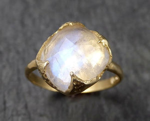 Fancy cut Moonstone Yellow Gold Ring Gemstone Solitaire recycled 18k statement cocktail statement 1515