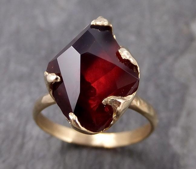 Partially faceted Natural red Garnet Gemstone solitaire ring Recycled 14k Gold One of a kind Gemstone ring 0972