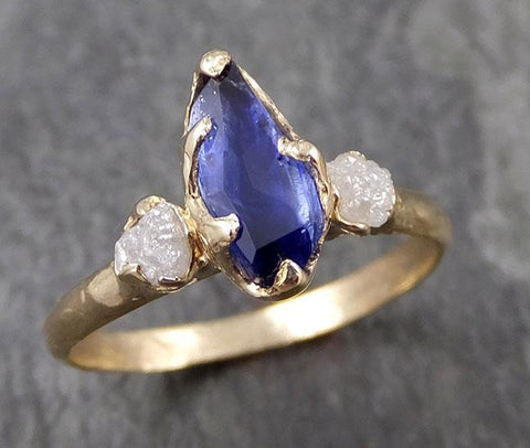 Partially faceted natural crystal sapphire Gemstone and Raw Rough Diamond 14k Yellow Gold Ring Engagement multi stone 0975
