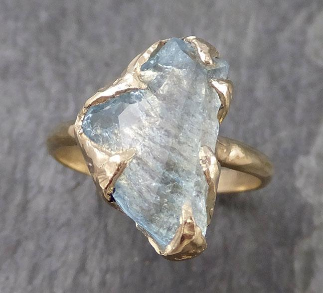 Partially faceted Aquamarine Solitaire Ring 14k gold Custom One Of a Kind Gemstone Ring Bespoke byAngeline 0976