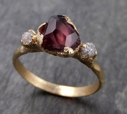 Partially Faceted Sapphire Raw Multi stone Rough Diamond 14k Yellow Gold Engagement Ring Wedding Ring Custom One Of a Kind Gemstone Ring 0977