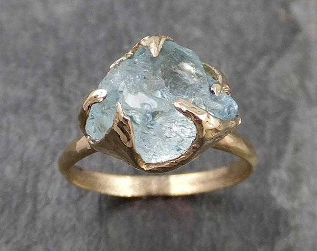 Raw uncut Aquamarine Solitaire Ring Custom One Of a Kind Gemstone Ring Bespoke byAngeline 0979