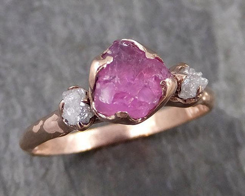 Sapphire Raw Multi stone Rough Diamond 14k rose Gold Engagement Ring Wedding Ring Custom One Of a Kind Gemstone Ring 0981