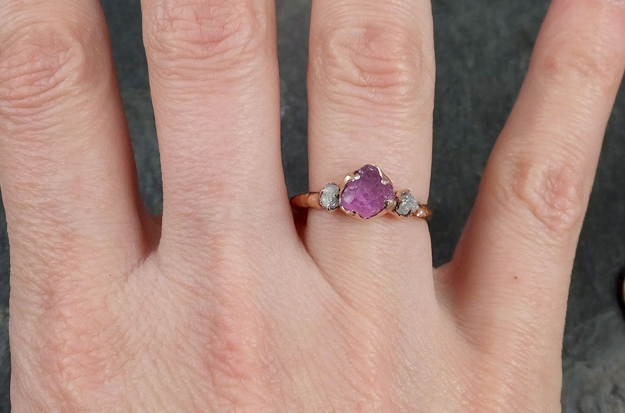 Sapphire Raw Multi stone Rough Diamond 14k rose Gold Engagement Ring ...