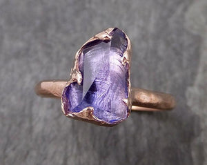 Partially faceted Tanzanite Crystal rose Gold Ring Rough Gemstone Solitaire recycled 14k byAngeline 0982